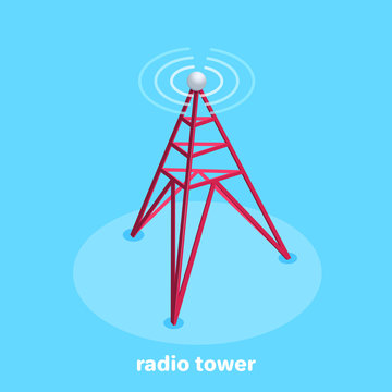 isometric vector image on a blue background, business icon in the form of a radio antenna emitting a signal