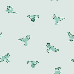 Green mockingbird Seamless Pattern. This is a hand drawn white, green, and blue repeat pattern inspired by mockingbirds. You can enjoy this on packaging, wallpaper, backgrounds, and more.