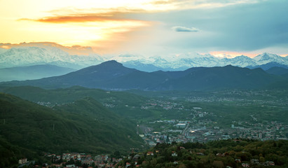 Beautiful view of the sunset in the Alp mountains.