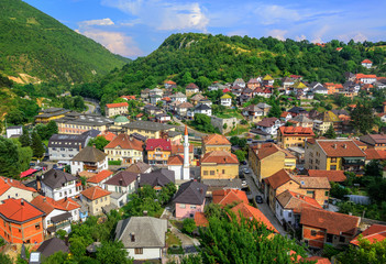 Panorama of the historical old town of Travnik, Bosnia