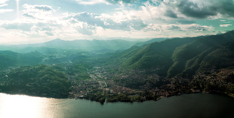 Aerial view on Cernobbio town from Brunate mountain.