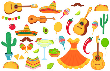 Mexican musical instruments, local food, clothing. Big set of decorative elements for the design of a poster, banner, flyer, greeting card, advertising.