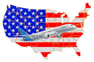 Flights to the USA, travel concept. 3D rendering