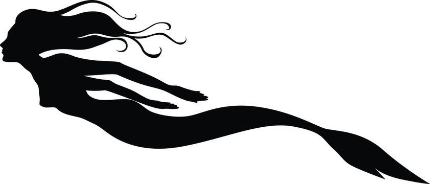 Vector illustrations of silhouette of a swimming mermaid