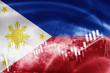 Philippines flag, stock market, exchange economy and Trade, oil production, container ship in export and import business and logistics.