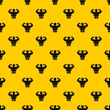 Athletic man torso pattern seamless vector repeat geometric yellow for any design