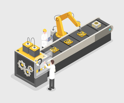 Technology gadget assembly line, manufacturing process. Engineers working on industrial plant, research laboratory 3d vector illustration. Remote controlled, automated robotic arm isometric concept