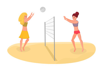 Buddies playing beach volleyball vector illustration. Spending free time on vacation actively, healthy life isolated flat concept. Girlfriends having fun, keeping fit during summer cartoon characters