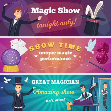Circus party banners. Magic show with wizard characters circus tricks vector cartoons background. Announcement circus show, magician poster illustration