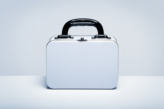 White tin lunchbox with copy space