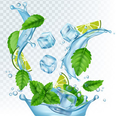 Fresh drink vector illustration. Realistic water, ice cubes, mint leaves and lime isolated on transparent background. Mojito with lemon and leaf mint, fresh mocktail with ice