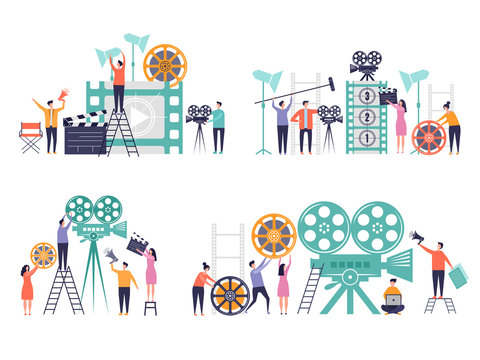 Movie production concept. Flat characters making films video camera clapboard filming person vector colored backgrounds. Production video and movie, film making entertainment illustration