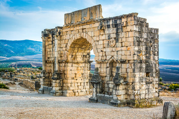 Ruins of the roman city of Volubilis, UNESCO world heritage site near Fes and Meknes, Morocco