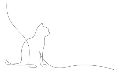 Cat silhouette on white background, vector illustration