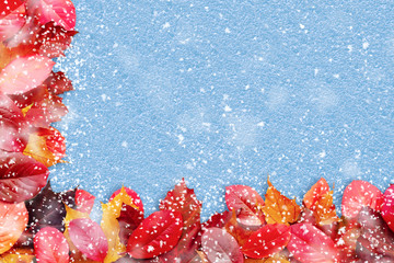Border of autumn leaves on a blue background witn snow - a beautiful template for an autumn card or congratulations