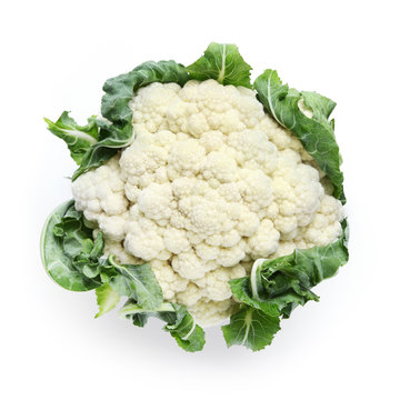cauliflower isolated on white background, top view