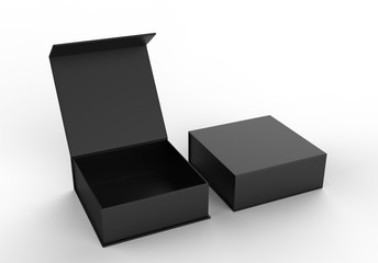 White blank hard cardboard box for branding presentation and mock up template, 3d illustration.