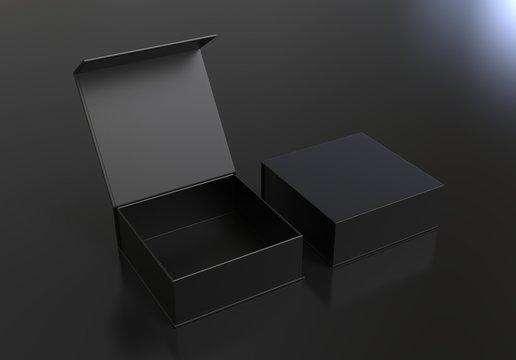 White blank hard cardboard box for branding presentation and mock up template, 3d illustration.