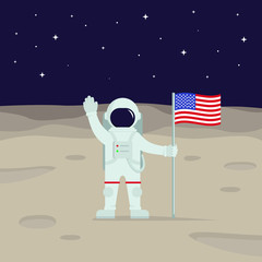 Illustration of an astronaut holding an American flag on the moon
