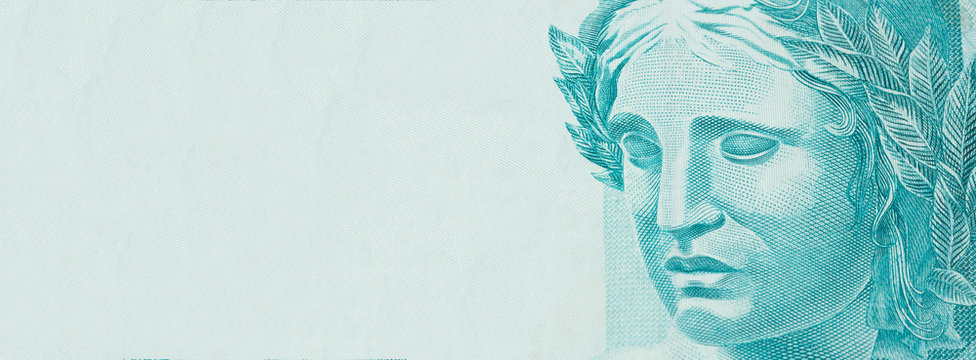 Republic's Effigy portrayed as a bust on Brazilian money. Concept of economy, inflation and business. Space for text.