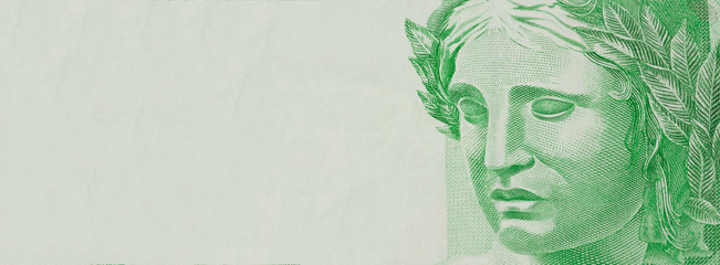 One note money. Republic's Effigy bust on Brazilian money. Space for text.