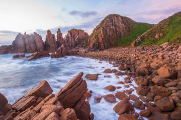 Foto op Plexiglas Diepbruine Dramatic landscape of the Pinnacles the breath-taking panoramic views and a series of compelling rock formations in Cape Woolamai, Phillip Island, Australia at sunset