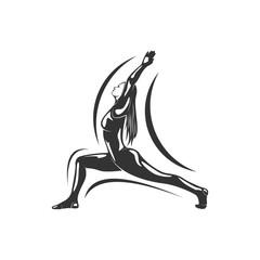 Women fitness exercise logo vector. Gymnastics Logo Template. Healthy Sexy body vector.