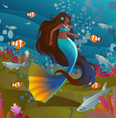 black latina happy cute beautiful mermaid