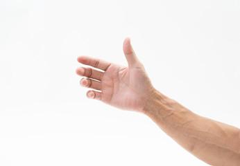 Man hand arm on white background