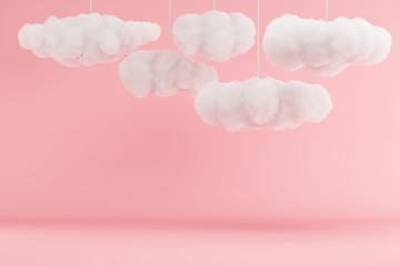 Clouds Hanging on pink room background. minimal idea concept. 3D render. Fototapete