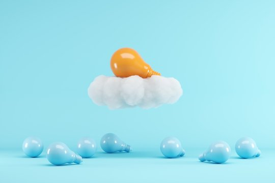 Orange Lightbulb floating with cloud above blue lightbulbs on blue background. minimal creative idea concept. 3D render.
