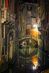 Wall Mural - Narrow canal in Venice at night