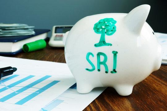 Socially Responsible Investing SRI written on a piggy bank.