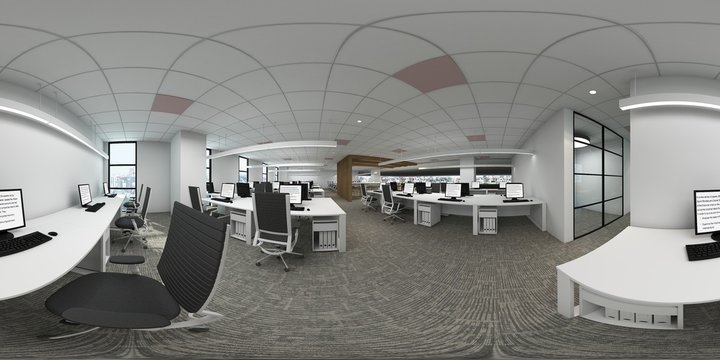 3d illustration spherical 360 degrees, a panorama of the room and interior design. office (3D rendering)