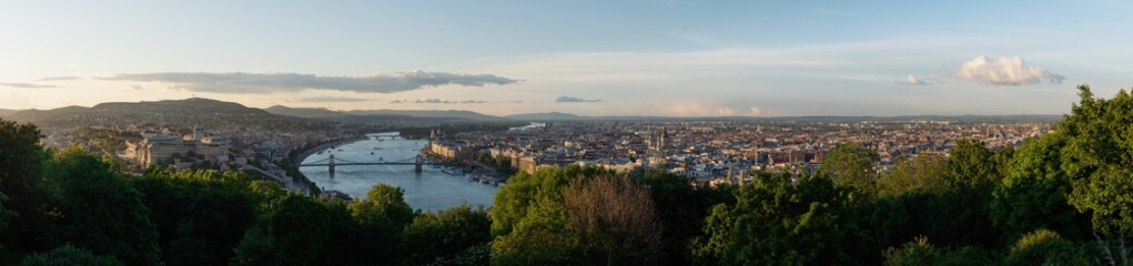 Wall Mural - Panoramic Budapest city view in summer, Hungary. Aerial landscape