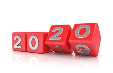 3d Illustration - Würfel mit den Jahreszahl 2019 - 2020 auf weißem Hintergrund - repräsentiert das neue Jahr 2020.