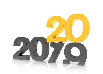 3d illustration - 2019 - 2020 - Silvester, Neujahr, Countdown, Jahreszahlen - schwarz, gold