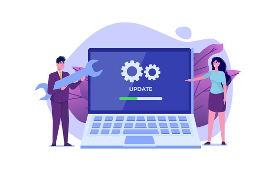Laptop System update flat style concept. Vector illustration