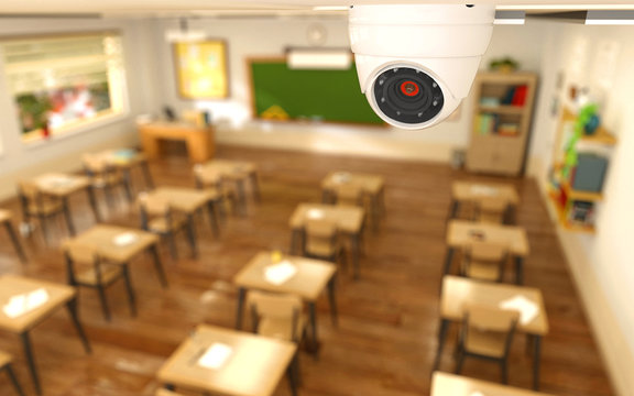 3D rendering illustration of security camera in classroom at school. CCTV camera monitoring children protection concept.