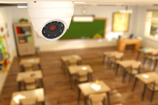 3D rendering illustration of security camera in classroom at school. CCTV camera on ceiling children protection concept.