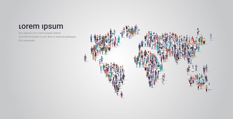 people crowd gathering in world map icon shape social media community travel concept different occupation employees group standing together full length horizontal copy space