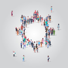 people crowd gathering in gear wheel icon shape social media community teamwork process concept different occupation employees group standing together full length