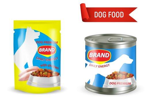 Dog food package mockup set, vector illustration