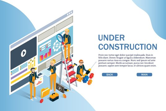 Under construction website page, web banner vector template