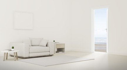 Mock-up of minimal living room with white sofa and white door on sea view background,Idea of family vacation - warm timber interior design - 3D rendering.