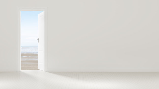 Mock-up of white door opening to the  sea view background,Idea of vacation,freedom - 3D rendering.