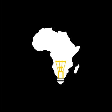Light bulb with map Africa