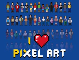 love pixel art, people video game vintage illustration
