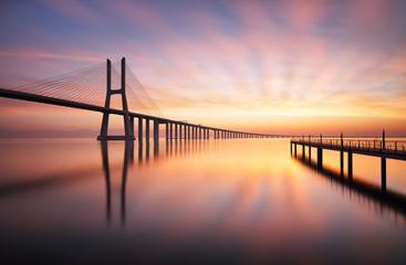 Obraz Lisbon bridge - Vasco da Gama at sunrise, Portugal - fototapety do salonu