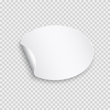 Round paper sticker template with bent edge. White blank label isolated on transparent background. Vector oval curl banner.